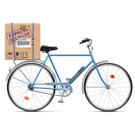 spoked: Vector Delivery Bicycle with Carton Box isolated on white background Illustration