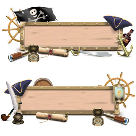 pirate treasure: Vector Pirate Billboards isolated on white background Illustration