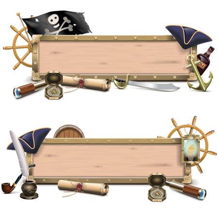 kapelusze: Vector Pirate billboardy na białym tle Ilustracja
