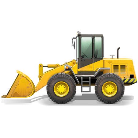 bulldozer: Vector Old Bulldozer isolated on white background