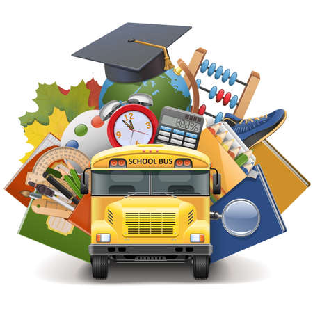 grade school: Vector School Concept with Bus isolated on white background Illustration