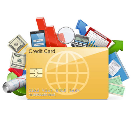 tarjeta de credito: Vector concepto de negocio con la tarjeta de crédito aislada en el fondo blanco