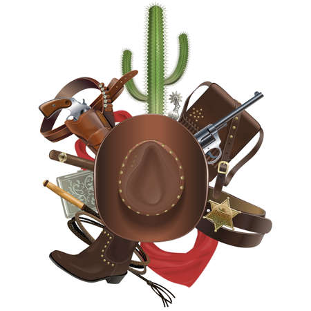 boots: Vector Cowboy Concept with Hat isolated on white background