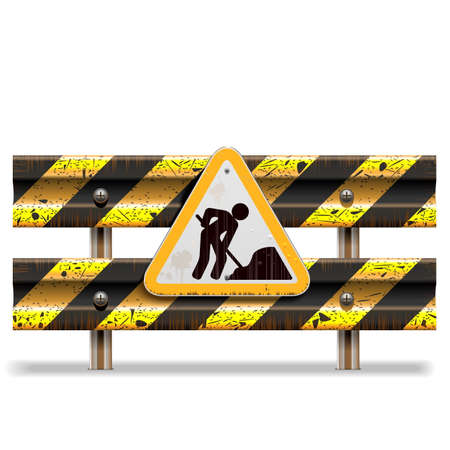 roadwork: Vector Old Striped Barrier with Sign isolated on white background