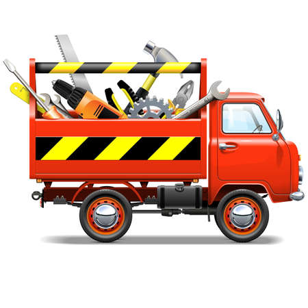 truck repair: Vector Red Truck with Toolbox isolated on white background Illustration