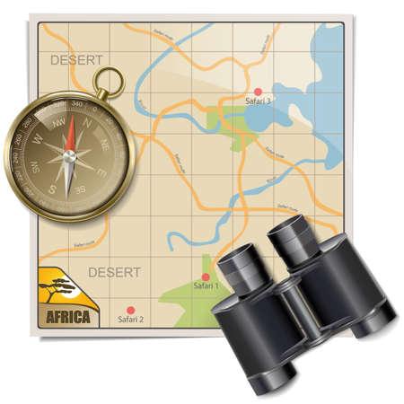 bussola: Vector Safari Mappa isolato su sfondo bianco