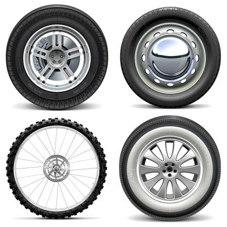 tyre: Vector Vehicle Wheels isolated on white background