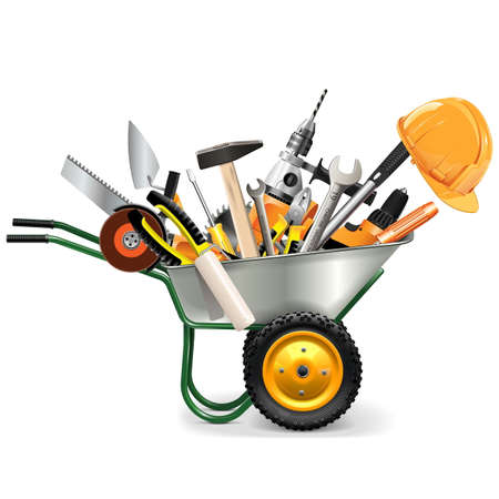 Vector Wheelbarrow with Tools isolated on white background Illustration