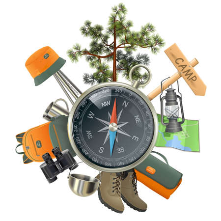 Vector Camping Concept met kompas op een witte achtergrond Stock Illustratie