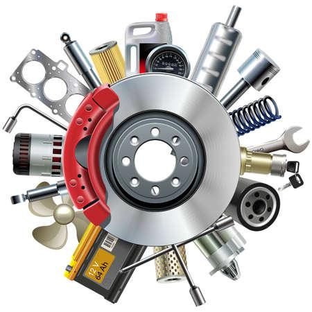 mantenimiento: Vector de recambios de coches de concepto con disco de freno aislado en fondo blanco Vectores