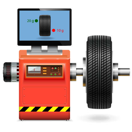 tire fitting: Vector Balancing Wheel Service isolated on white background Illustration