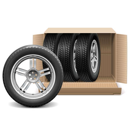 spares: Vector Car Wheels in Carton Box isolated on white background Illustration