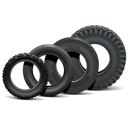 llantas: Vector Diferentes neumáticos de vehículos aislados sobre fondo blanco