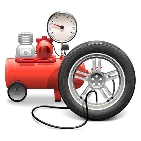 piezas coche: Bomba Concepto del vector con la rueda aisladas sobre fondo blanco