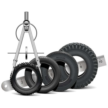 spares: Vector Tire Scale isolated on white background