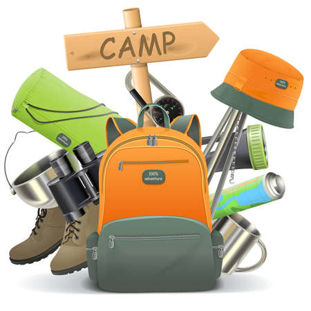 summer holiday: Vector Camping Concept with Backpack isolated on white background