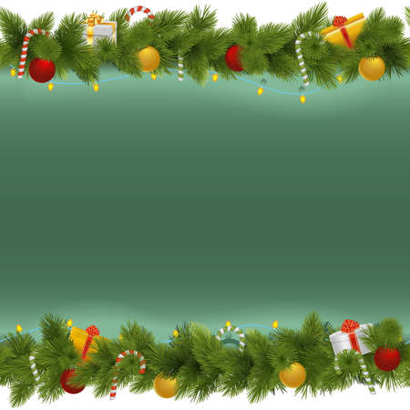festoon: Vector Green Christmas Background with Garland isolated on white background