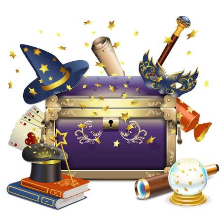 magie: Vecteur de la Magic Chest isolé sur fond blanc