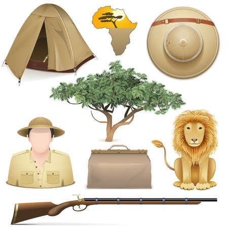 top gun: Vector Safari Icons Set isolated on white background Illustration