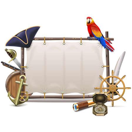 sombrero pirata: Vector del marco de la marinería con vela aislado en el fondo blanco
