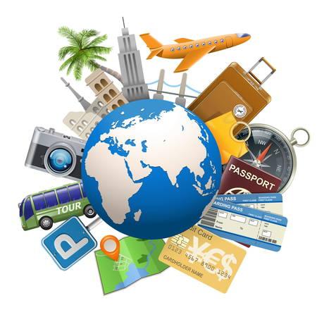 valise voyage: Vecteur Tourisme Concept avec Globe isolé sur fond blanc