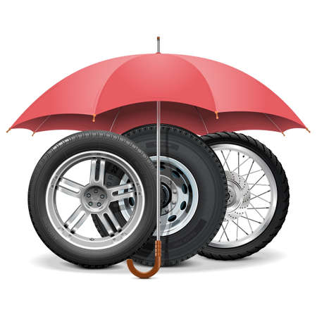 spoked: Vector Wheels under Umbrella isolated on white background