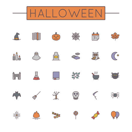 book silhouette: Vector Colored Halloween Line Icons isolated on white background Illustration