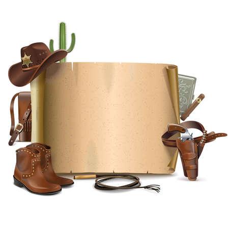 Vector Cowboy Scroll isolato su sfondo bianco Archivio Fotografico - 45522500