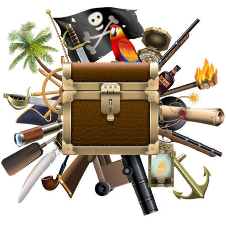 pirate treasure: Vector Treasure Hunt Concept with Chest isolated on white background
