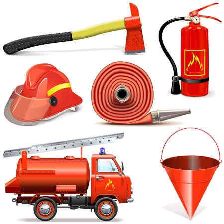 bombero de rojo: Vector de prevenci�n de incendios iconos aislados sobre fondo blanco