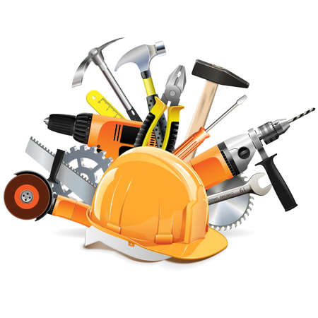 under construction icon: Vector Construction Tools with Helmet isolated on white background