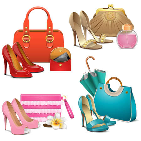 high heel shoes: Vector Fashion Accessories Set isolated on white background