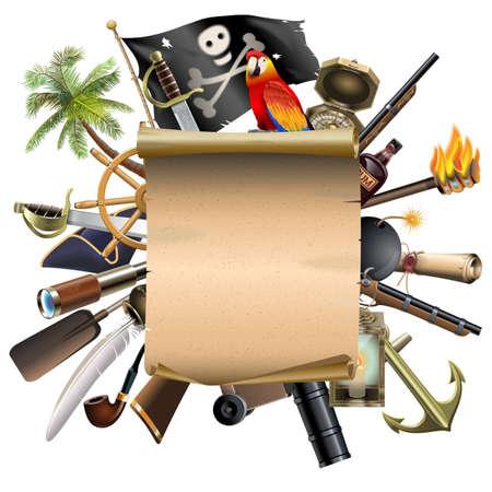 drapeau pirate: Vector Old Scroll avec Pirate Accessoires isol� sur fond blanc
