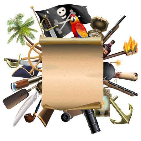 Vector Old Scroll with Pirate Accessories isolated on white background