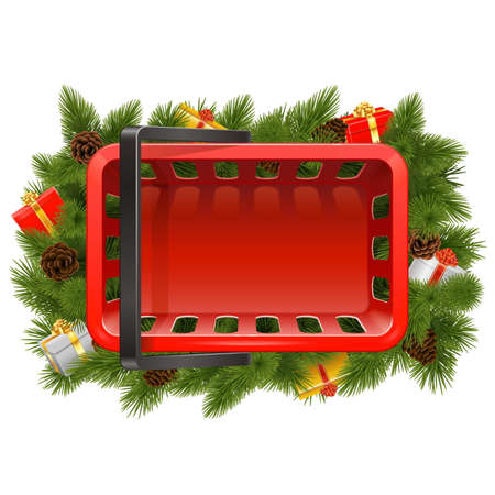 Vector Shopping Basket with Christmas Decorations isolated on white background