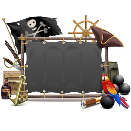 cutlass: Vector Pirate Frame with Sail isolated on white background Illustration