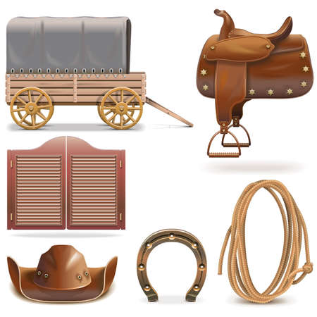 western: Vector Cowboy Icons Set 2 isolated on white background