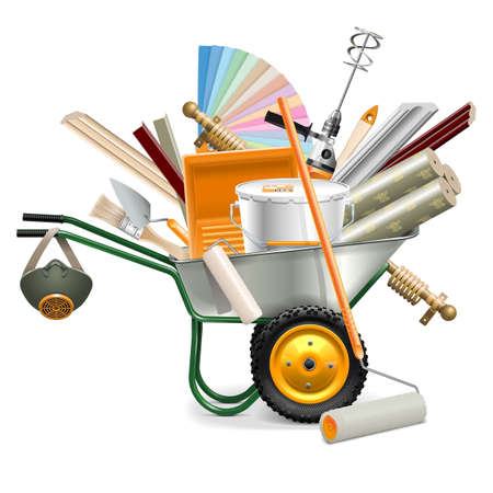 tools: Vector Wheelbarrow with Painting Tools isolated on white background Illustration