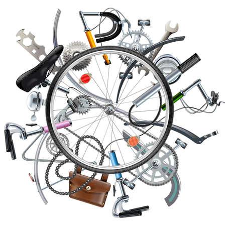 bicicleta: Vector de bicicletas Repuestos Concepto con la rueda aislado en fondo blanco