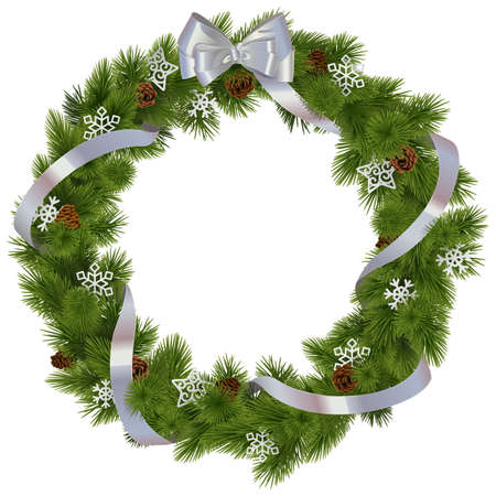 wreath christmas: Vector Christmas Wreath with Snowflakes isolated on white background