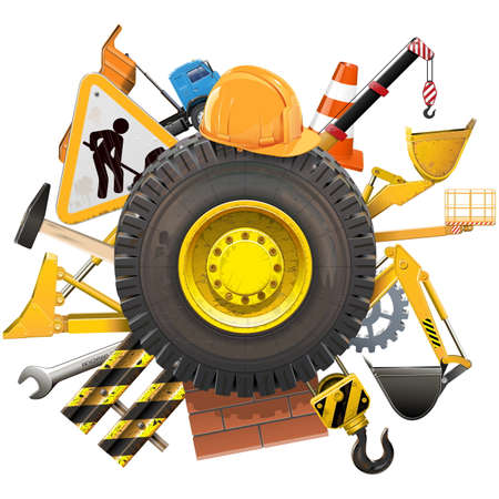 taper: Vector Construction Concept with Wheel isolated on white background