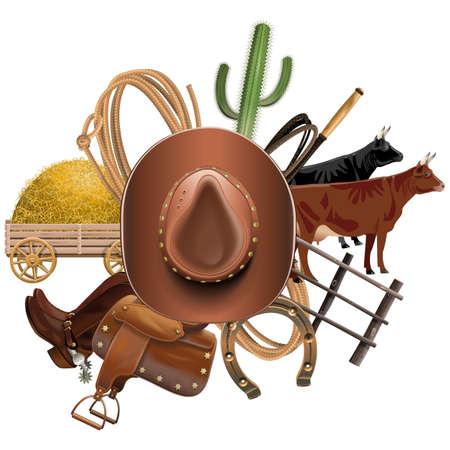 botas: Vector Cowboy Ranch concepto aislado en el fondo blanco