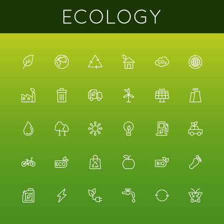 naturism: Vector Ecology Line Icons isolated on gradients background