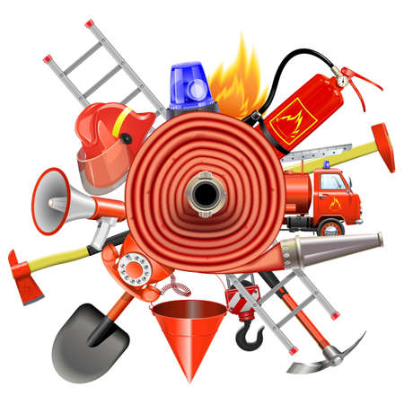 pail tank: Vector Fire Prevention Concept with Firehose isolated on white background