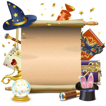 magie: Vecteur parchemin magique isolé sur fond blanc