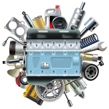 starter: Vector Motor Engine with Car Spares isolated on white background