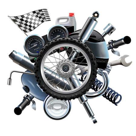 motor race: Vector Motorcycle Spares met wiel op een witte achtergrond