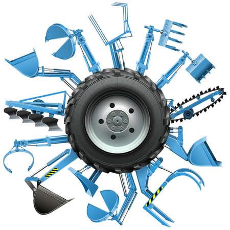 agricultura: Vector Multi Tractor de ruedas aisladas sobre fondo blanco