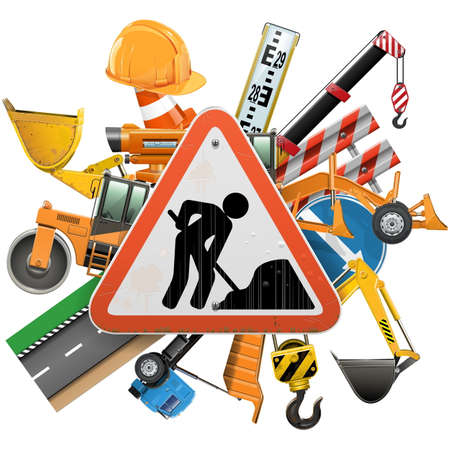 road scraper: Vector Road Construction Concept with Sign isolated on white background