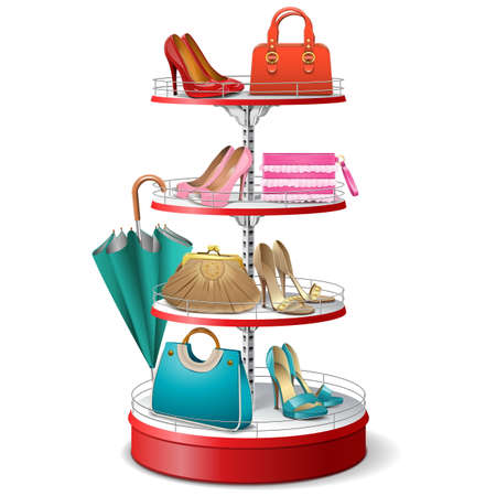 with bag: Vector Round Shelf with Female Accessories isolated on white background Illustration